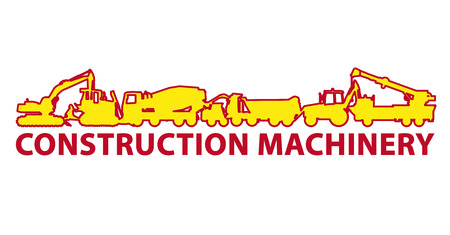 Construction machinery icon symbol. Ground works sign. Machines vehicles brand mark. Heavy construction equipment for building truck, digger, crane, bagger, mix, excavator. Vector Illustration master.