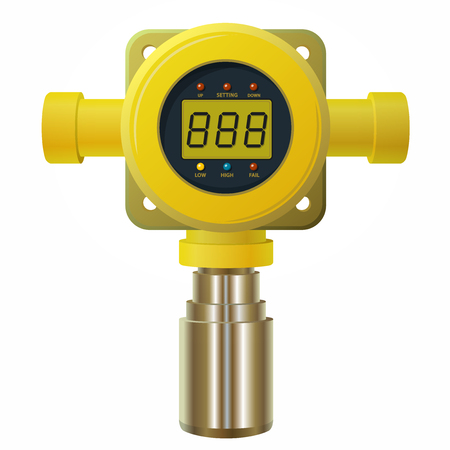 Vector gas detector. Yellow gas meter with digital LCD display. Low consumption When poly gas sensor heater with adjustable values. Safety sensor against poisoning with gas programmable alarm relays. Illustration