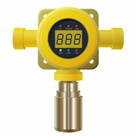 Vector gasdetector. Gele gasmeter met digitaal LCD-scherm. Laag verbruik Bij poly-gassensorverwarming met instelbare waarden. Veiligheidssensor tegen vergiftiging met gas programmeerbare alarmrelais. Stock Illustratie