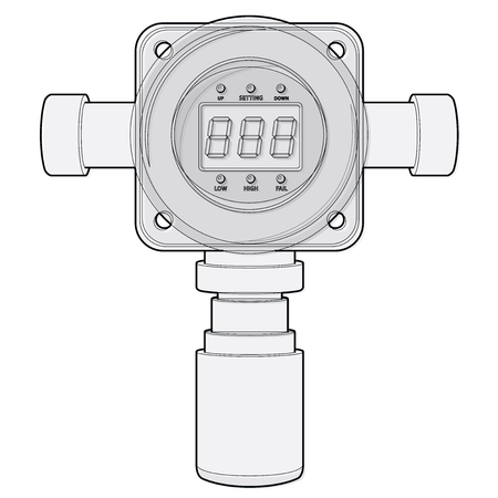 Vector gas detector. Outlined gas meter with digital LCD display. Low poly toxic gas consumption, sensor heater, adjustable values. Safety sensor against poisoning with gas programmable alarm relays.