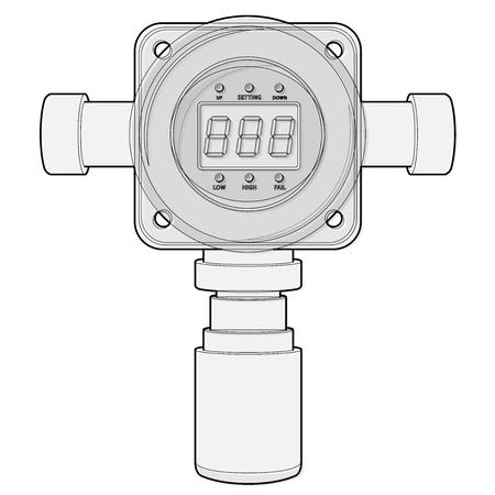 Vektor Gasdetektor. Umrissener Gaszähler mit digitalem LCD-Display. Niedriger Poly-toxischer Gasverbrauch, Sensorheizung, einstellbare Werte. Sicherheitssensor gegen Vergiftung mit gasprogrammierbaren Alarmrelais.