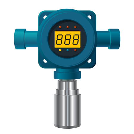 Vector gas detector. Blue gas meter with digital LCD display. Low poly toxic gas consumption, sensible heater with adjustable values.