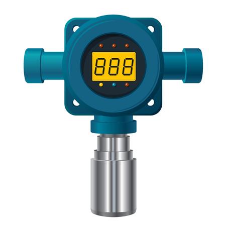 Vector gasdetector. Blauwe gasmeter met digitaal LCD-scherm. Laag poly-toxisch gasverbruik, verstandige verwarmer met instelbare waarden.