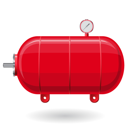 Red pressure vessel for water, gas, air. Pressure tank for storage of material, water. Valves, measuring unit, handles. Flatten icon illustration. Illustration