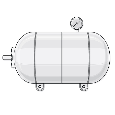 Outlined pressure vessel for water, gas, air. Pressure tank for storage of material, water. Valves, measuring unit, handles. Flatten icon illustration.