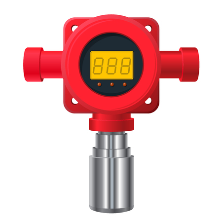 Vector Gas detector. Red gas meter with digital LCD display. Toxic sensor heater, adjustable values. Safety sensor detects poisoning with gas programmable alarm relays.