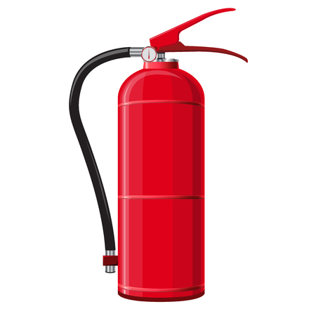 suppression: Red extinguisher with hose. Safety fire-fighting equipment. Firefighting equipment and fire protection. Master vector illustration, isolated on white background.