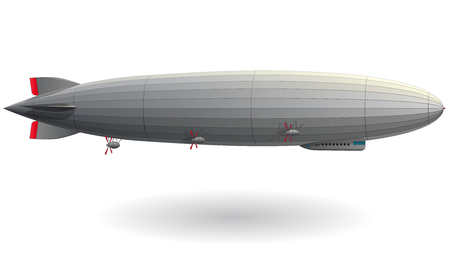 Legendary huge zeppelin airship filled with hydrogen. Stylized flying balloon. Big dirigible with propellers and rudder. Long zeppelin, white background, rigid airship. Isolated vector illustration. Vettoriali
