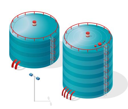 Gráfico isométrico del edificio del depósito de agua. Depósito de agua azul. Recursos de abastecimiento de agua blanca. Conjunto de limpiador de química industrial Pictogram con detalles azules. Aplanar icono de vector aislado. Foto de archivo - 80258519