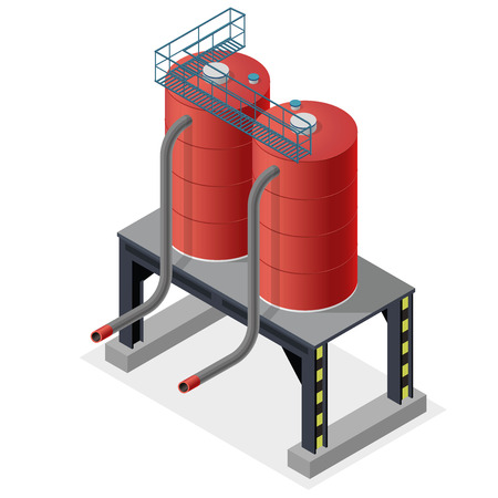 Gasoline tanks, isometric building info graphic. Diesel fuel supply resources. Gas tank on pillars. Water reservoir. Industrial chemistry pictogram, red details. Flatten master isolated vector icon Illustration