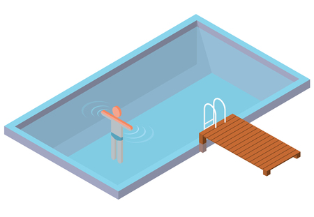 Isometric swimming pool with swimmer on white background. Home-made pool with clean water. Wooden mist with steps in water. Garden summer idyll. Pictogram 3d element. Isolated master vector.