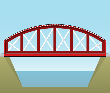 Red vector train bridge in side view and isolated on white background. Illustration