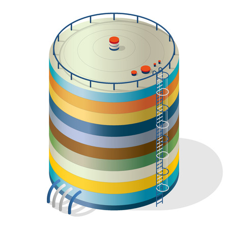 variegated: Funny variegated water reservoir isometric building infographic. Multicolored water reservoir. Illustration