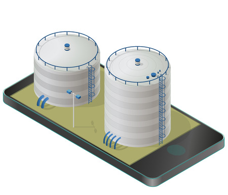 Big water reservoir in mobile phone. White water supply resource. Industrial chemistry cleaner pictogram set with blue details. Water reservoir isometric building info graphic. Isolated vector icon. Illustration