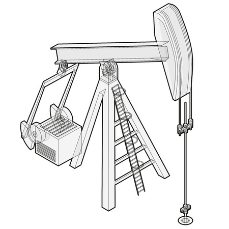 Oil extraction pump. Outlined oil industry, oilfield equipment. Mining equipment typical of Texas and USA. Industrial self-propelled machine. Isolated master wire vector illustration.