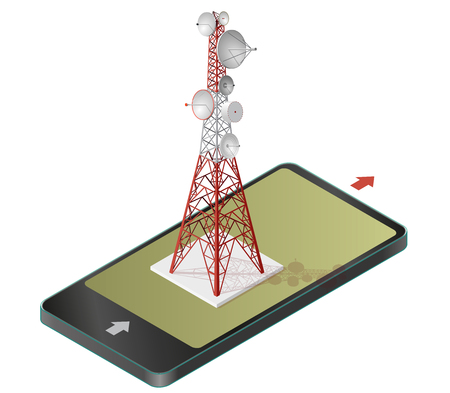 wireless icon: Vector satellite tower in mobile phone, transmission tower. Telephone and television signals in communication technology, paraphrase, isolated on white background. Red-white isometric building.