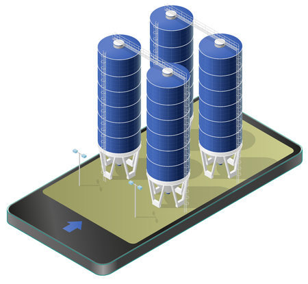 Grain silo isometric building in mobile phone, isometric. Blue seed lift agriculture, farming, husbandry in communication technology paraphrase. Isolated vector illustration, white background. Illustration