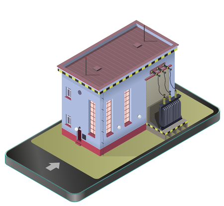 Electric transformer isometric building. Vector high-voltage power station in communication technology paraphrase. Old plant architecture. Pictogram industrial electricity set.