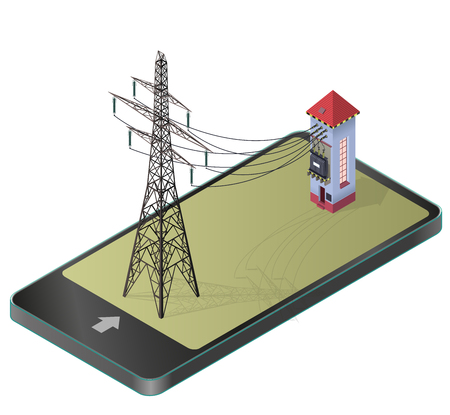 Electric transformer isometric building. High-voltage power station, electricity pylon, communication technology paraphrase. Industrial electricity set. Isolated vector illustration.