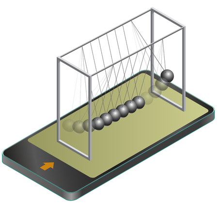 Vector Newton swing in mobile phone, in isometric perspective. Pendulum cradle metal bolls signals in communication technologies, paraphrase. Isolated on white background. Illustration