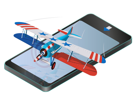 Biplane from the World War II on a mobile phone with the flag of United States. Model aircraft propeller with two wings. Old retro aircraft designed for poster. Realistic vector of flying biplane.