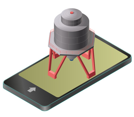 Gasoline tank and isometric building in mobile phone. Illustration