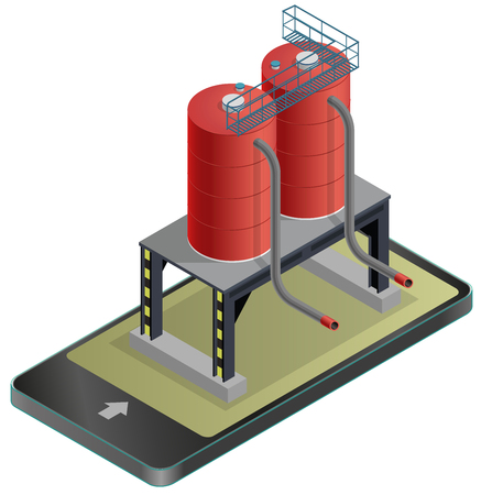 Gasoline tank, isometric building in mobile phone. Diesel, fuel supply resources. Gas tank on pillars in communication technology, paraphrase. Water reservoir. Flatten isolated vector icon.