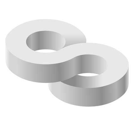 basic figure: Arched shapes in isometric perspective, isolated on white background. Basic building blocks for creating abstract objects, background. Gray three-dimensional round shape figures. Low poly vector.