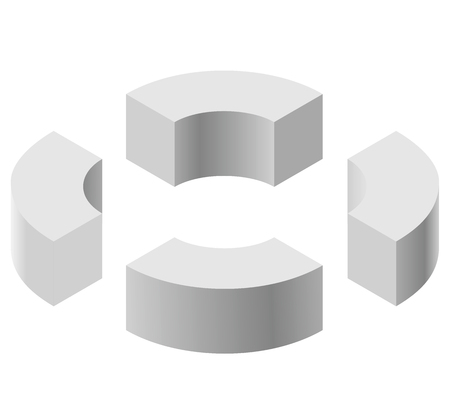 arched: Arched shapes in isometric perspective, isolated on white background. Basic building blocks for creating abstract objects, background. Gray three-dimensional round shape figures. Low poly vector.