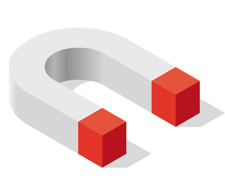 Magnet symbol, isometric perspective. Pure shadowed shape in gray, red colors. Isolated on white background, drop shadow. Magnetic force power, attraction, magnetization and repulsion. Low poly vector