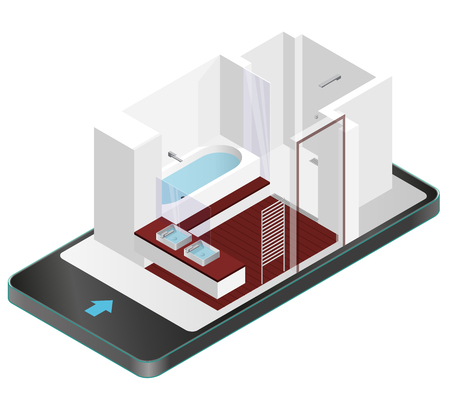 modern bathroom: Modern bathroom with wooden floor in mobile phone. Isometric shower enclosure with sliding glass doors in communication technologies. Bathroom sinks with mirror. Vector sanitary washroom equipment. Illustration