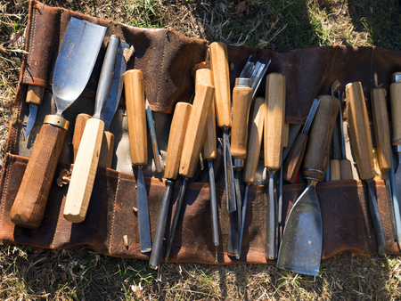 Carving woodcutting chisels. Sculptural chisels for making statues of wood. Set of sculptures such as Bethlehems and Artwork. Equipment for arts and crafts, woodwork.