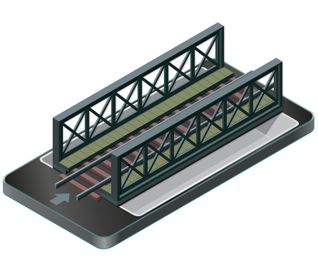 steel industry: Vector Train bridge, isometric perspective in mobile phone. Isolated on white background. Industrial transportation building. Metallic architecture. Railway bridge in communication technologies.