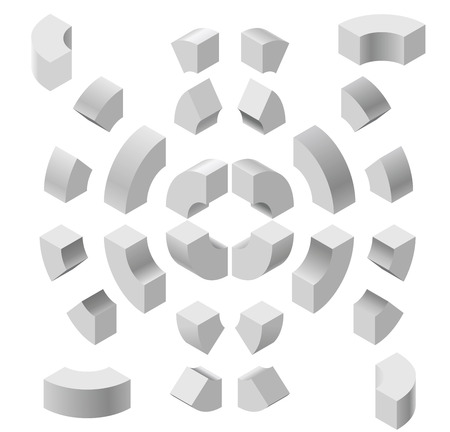 arched: Arched shapes in isometric perspective, isolated on white background. Basic building blocks for creating abstract objects, background.