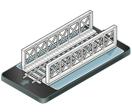 Isometric vector train bridge in mobile phone. Construction industrial transport building. Wire architecture plan. 3d building planning of railway bridge in communication technologies, isolated.