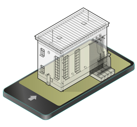 Electric transformer isometric building in mobile phone. Outlined 3d planning of high voltage power station in communication technology paraphrase. Wire architecture plan of old plant.