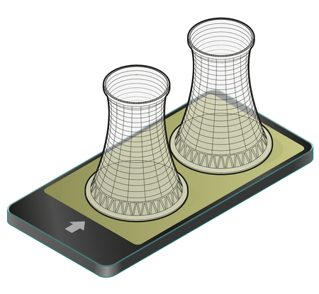 Vector isometric cooling system of a nuclear power plant in a mobile phone.