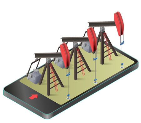 Three vector oil extraction pumps in a mobile phone in isometric perspective. Oil well industry production, oilfield equipment in communication technology. Isolated illustration on white background. Illustration