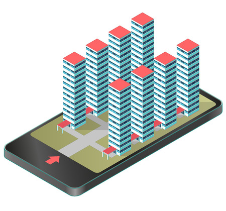 High-rise apartment isometric building in mobile phone, tablet. Housing development project, isolated illustration in communication technology. Modern hospital complex. Low poly master vector.