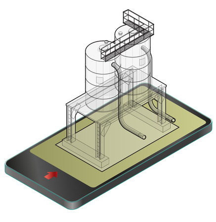 Outlined gasoline tank, isometric building in mobile phone