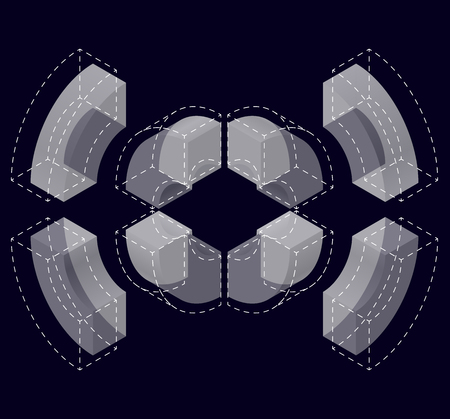 Abstract curved vector shape reminiscent of technological development, nanotechnology component. Isometric brand of scientific institution, research center, laboratories, spatial paradox on black. Illustration