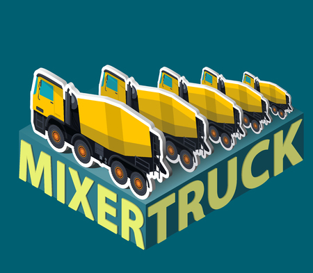 Yellow concrete mixers in isometric. Five concrete mixers in a row behind each other. Construction machinery and ground works. Flatten illustration, banner or icon. Isolated master vector on gray. Illustration