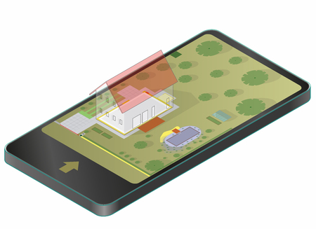 Garden project concept in mobile phone illustration.