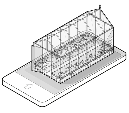 Overzichts vector isometrische serre met glasmuren in mobiele telefoon