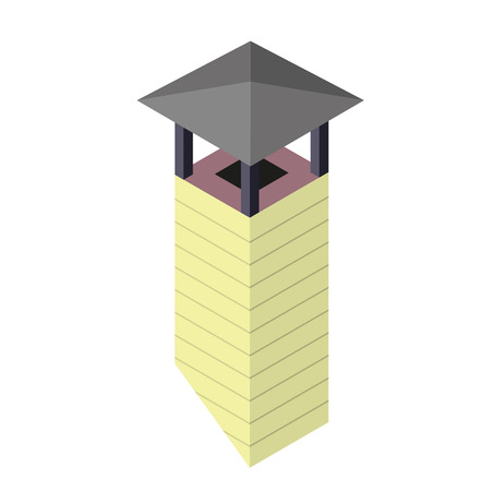 Classic solid brick chimney with raincoat in isometric perspective. Yellow chimney flue isolated on white background. Vector master illustration.