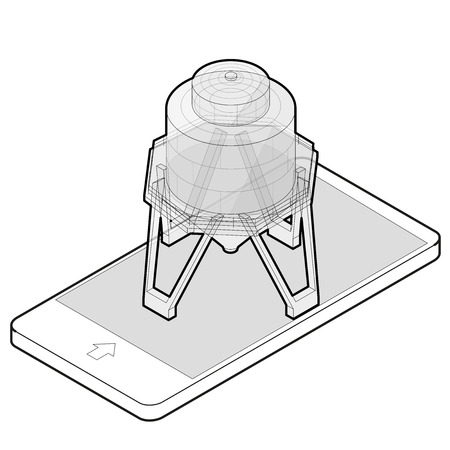 Outlined gasoline tank isometric building in mobile phone.