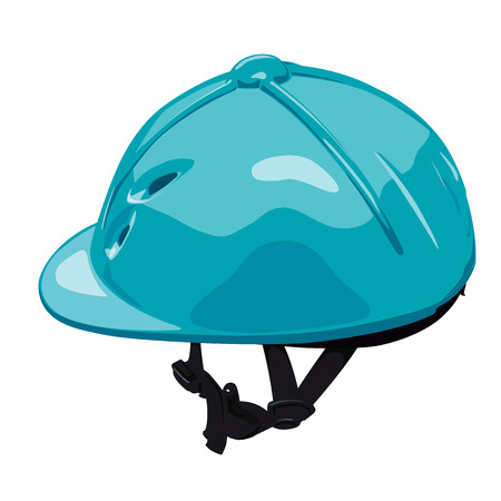 Blue vector riding helmet. Isolated jockey protection on white background. Realistic object from equestrian environment with horses. Horse racing equipment. Flatten isolated master illustration.