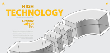 Graphic layout set with abstract curved vector shape, reminiscent of technological development, nanotechnology component. Isometric brand high technology institution, research center, laboratories.