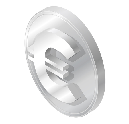 Euro coin logo in isometric perspective. Modern symbol of piece in minimalist gray stylization. Graphic icon of European Union currency, internet investing. Three dimensional symbol, buck mark.