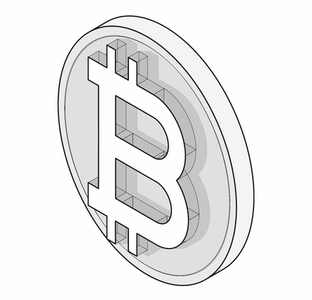 Modern symbol, cryptocurrency, minimalist stylization. Graphic icon of virtual digital currency, internet investing. 矢量图像